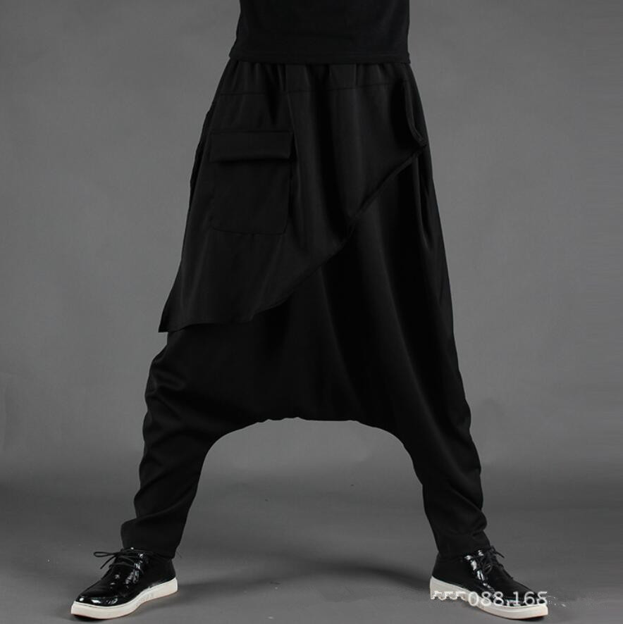 De Hip Nouveau Pantalon Bas Hop Occasionnel Costumes Étape Marée 2018 Hommes Harem Gothique Noir Personnalité Mâle Entrejambe Lâche Automne q4xw1f