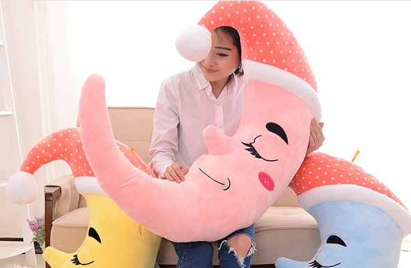 ФОТО new creative plush hat moon toy cute pink stuffed moon pillow gift about 70cm
