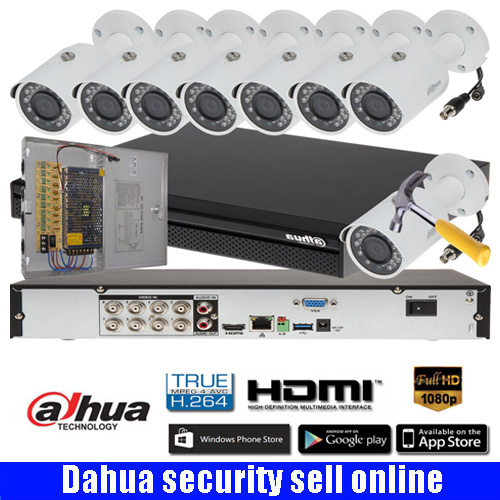 DAHUA DH-XVR7108H 8CH 2MP HDCVI DVR Security System kit with 8pcs DAHUA 2MP Network IR Bullet Camera 2MP Waterproof IP camera ...
