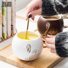 JOUDOO 450ML Europe Ceramic Coffee Cup Cute Animal Swan Tumbler Mugs With Gold Handgrip Office Home Milk Tea Mug For Lovers 35