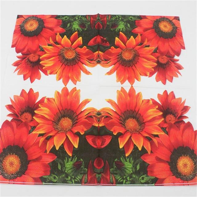 20pcslot Sunflower Paper Napkin Flower Para Festas Party Supply