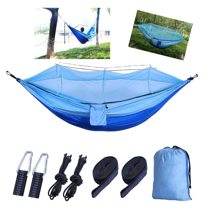 【Sinoped】 1-2 P moustiquaire extérieure Parachute hamac Camping suspendu lit de couchage balançoire Portable Double chaise hamac