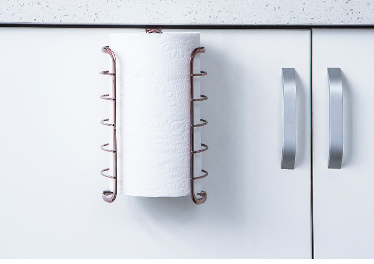 ORZ Rose Gold Kitchen Paper Holder Cabinet Door Hook Toilet Roll Paper Rack Kitchen Bathroom Accessories Home Office Decoration