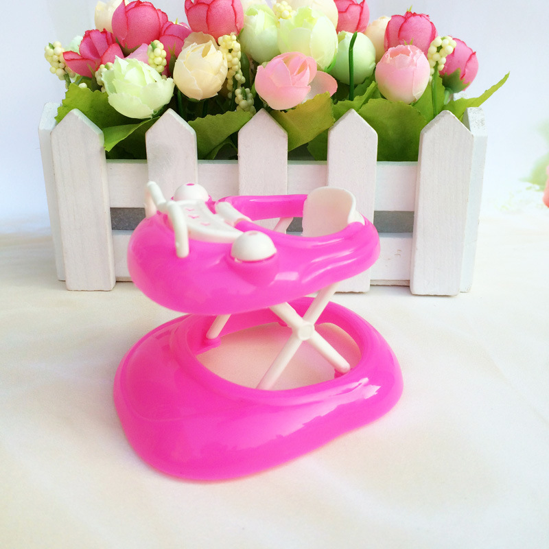 Cute Pink Plastic Walker for Barbie Dolls Learning Life Furniture Accessories for dolls house room box Girls gift
