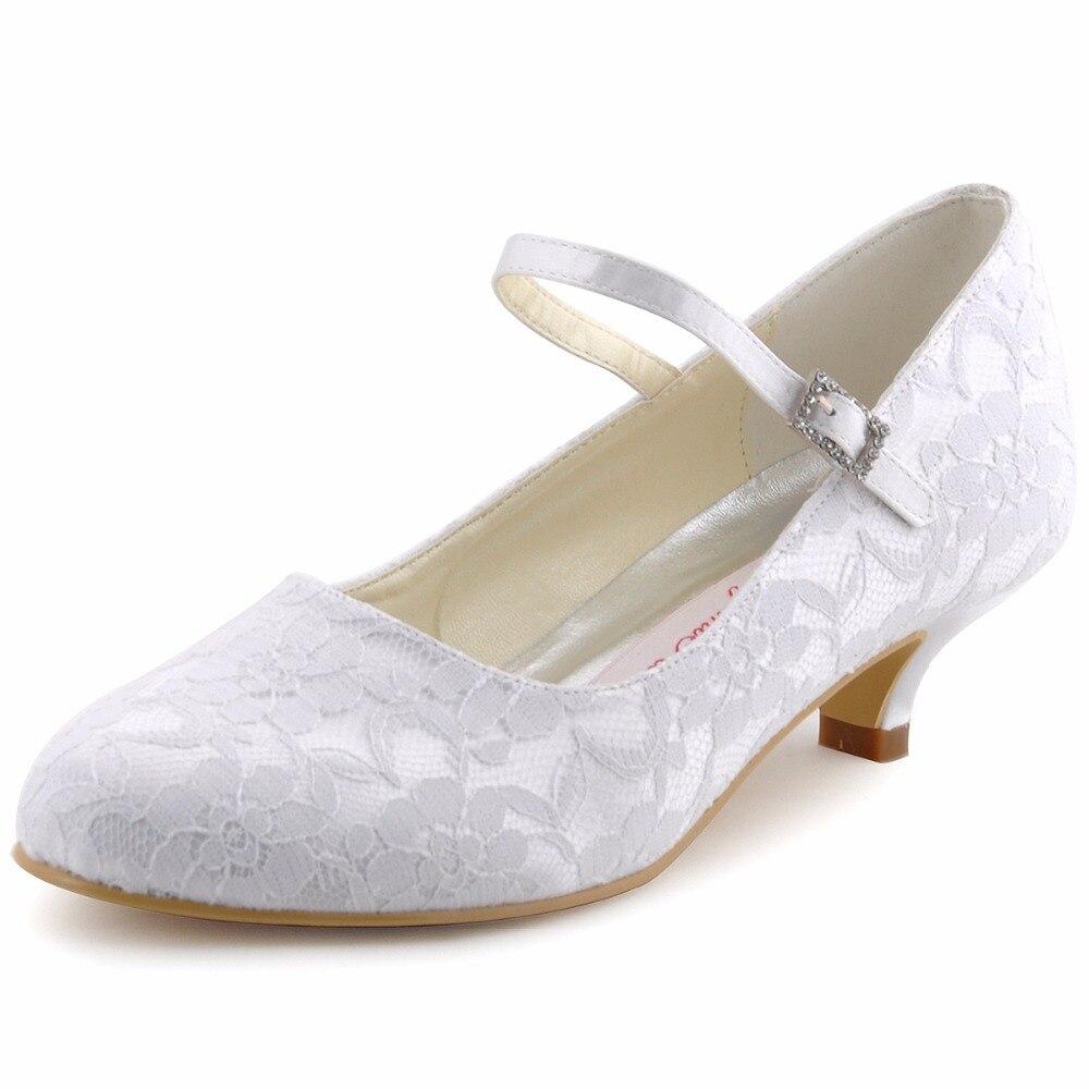 Chaussures Femme Blanc Ivoire Mary-jane Nuptiale De Soirée Pompes Fermé Orteils Talons Bas Satin DS-100120 Violet Bleu Dentelle Chaussures de mariage