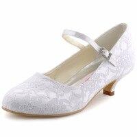 Sapatos Mulher Branca Marfim Mary-jane vestido de Noiva Festa À Noite Bombas Dedo Do Pé Fechado Salto Baixo Cetim DS-100120 Roxo Laço Azul Sapatos de casamento
