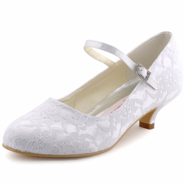 Shoes Woman White Ivory Mary-jane Bridal Evening Party Pumps Closed Toe Low  Heels Satin DS-100120 Purple Blue Lace Wedding Shoes 252a87426196