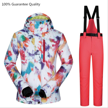 Female Jacket+pants Ski Suit Sets Waterproof Windproof Breathable Mountain Skiing Snow Outdoor Snowboarding Women Clothes