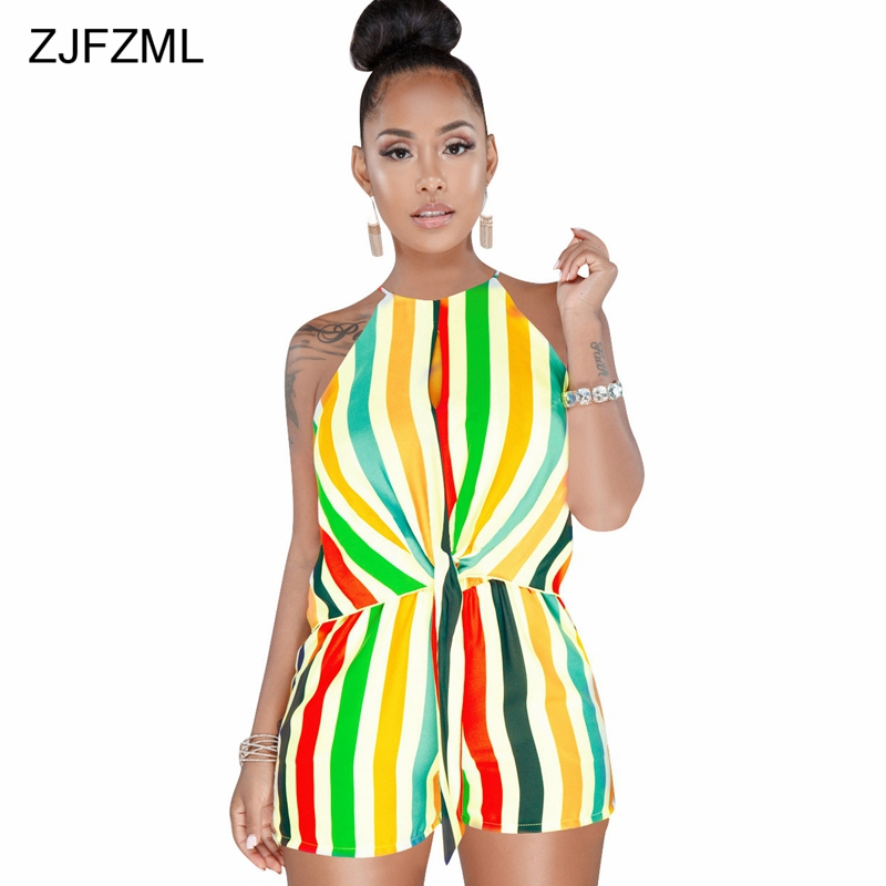 ZJFZML Women Halter Colorful Striped Jumpsuit Backless Sexy Hollow Out Summer Tracksuit Sleeveless Beach Casual Short Overall