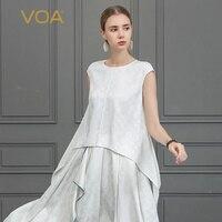 VOA шелк жаккард белая футболка Асимметричная футболка Повседневное дамы летние топы Женская одежда короткий рукав большой Размеры простой