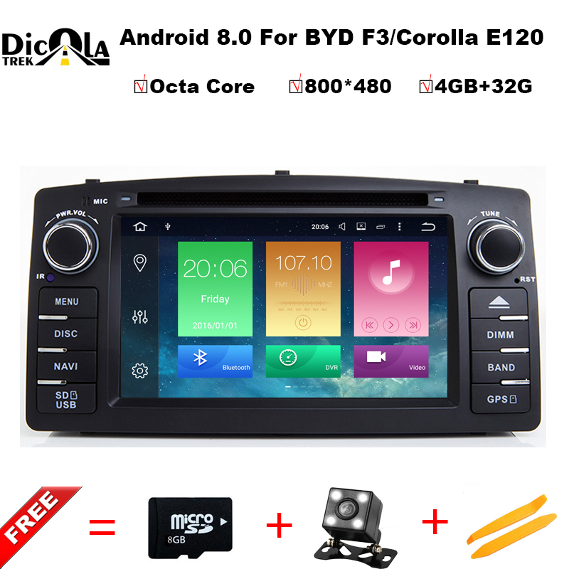 Android 8.0 Octa core 2 Din Voiture DVD GPS Pour Toyota Corolla E120 BYD F3 écran tactile WIFI RDS GPS voiture radio Soutien OBD DTV DAB +