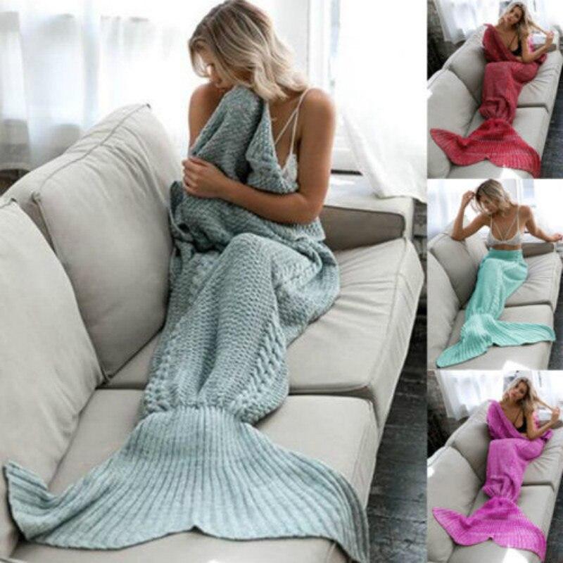 Mermaid Tail Sofa Deken Super Zachte Warme Hand Gehaakte Breien Voor Volwassen Kinderen Sterke Verpakking