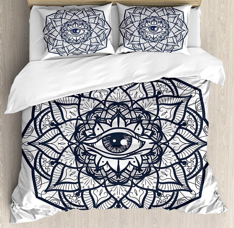 Ensemble housse de couette occulte oeil ornemental abstrait avec Mandala ethnique forme Providence énergie en Action ensemble de literie Design
