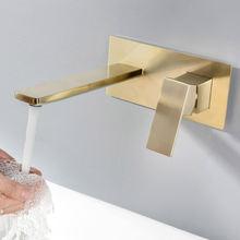 Настенный матовый золотой латунный Смеситель для ванной комнаты