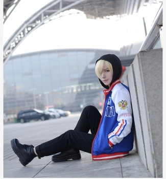 2017 New Anime Yuri on Ice Cosplay Costume Yuri Plisetsky Embroidered Jacket+Hoodie+Pants Halloween Adult Costumes for Women/Men 1