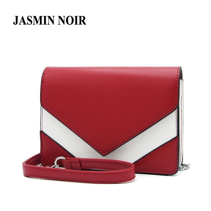 c1cc1e14e66e 2017 New Summer Fashion Patchwork Women Crossbody Bag High Quality Leather  Female Chain Messenger Bag Lady V Shape Shoulder Bag