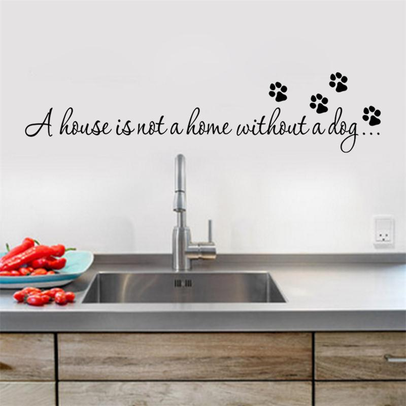 Paw print wall stickers without a dog a house is not home quotes decals wallpaper diy wallart decor8523 living bedroom homedecor in wall stickers from home