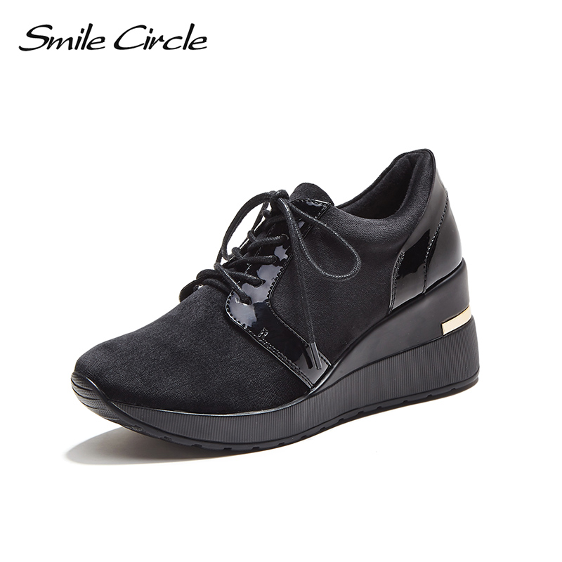 Smile Circle 2018 Spring Autumn Wedges Sneakers Women Fashion Lace-up Platform Shoes For Women High heels Casual Shoes C717B04 smile circle spring autumn women shoes casual sneakers for women fashion lace up flat platform shoes thick bottom sneakers