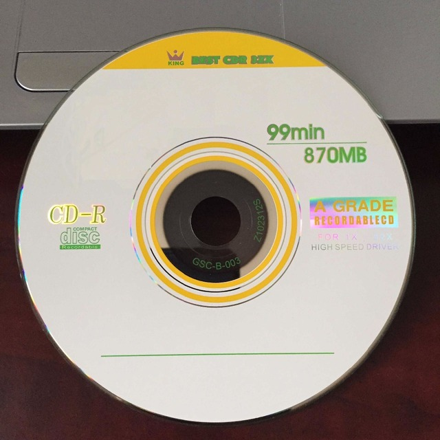 Wholesale 5 discs A+ Yellow Blank Printed 32x Blank 870 MB CD-R