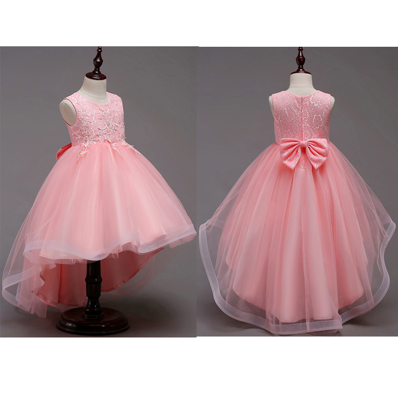 For 1-12Y Girls Lace Tulle Trailing Dresses For Kids Wedding Birthday Party  Princess Tail 4a71ecf69116