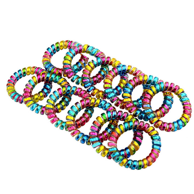 1pc Colorful Telephone Wire Cord Line Gum Holder Womens Elastic Hair Bands Tie Scrunchy Women Hair Accessory S L