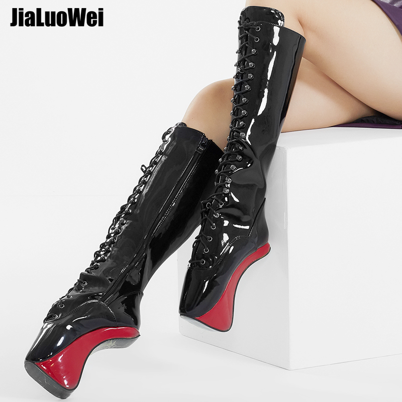 jialuowei 7 High heel Pony Hoof Sole Heelless Ballet Boots Pointed Toe Zip Lace-up Strange Heel Party Nightclub Knee-High Boots jialuowei 7 super high heel hoof heelless ballet boots transparent toe lace up zip buckle straps sexy fetish over knee boots