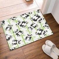 Cute Panda Bamboo Pattern Bath Rugs Bathroom Entryways Outdoor Indoor Front Door Mat 60x40cm