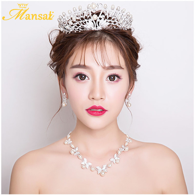 Bridal Wedding Tiara Necklace Earrings Set Rhinestone Women Jewelry