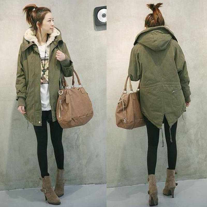 964b6e1789f Women Warm Winter Fall Outfit Fuzzy Coat Chunky Parka Army Green Hoodie  Military Fleece Top Plus Size Jacket Casual Outwear-in Parkas from Women s  Clothing ...