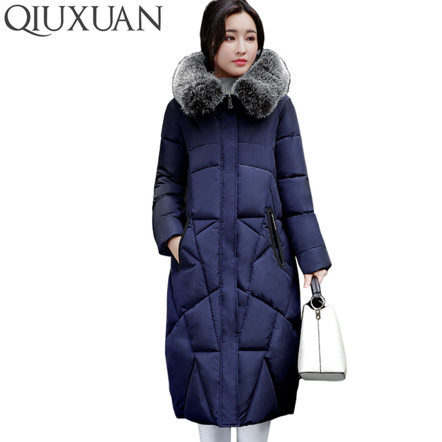 Faux fur collar hooded parka