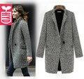 Новые 2016 Осень Высокое качество ladys одной кнопки Серые шерстяные пальто x-долго ветром пальто женская С Длинным рукавом OL Пыль Летом
