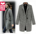 Newest 2016 Autumn High quality ladys single-button Gray woolen overcoat X-long wind coat womens Long sleeve OL Dust Summer