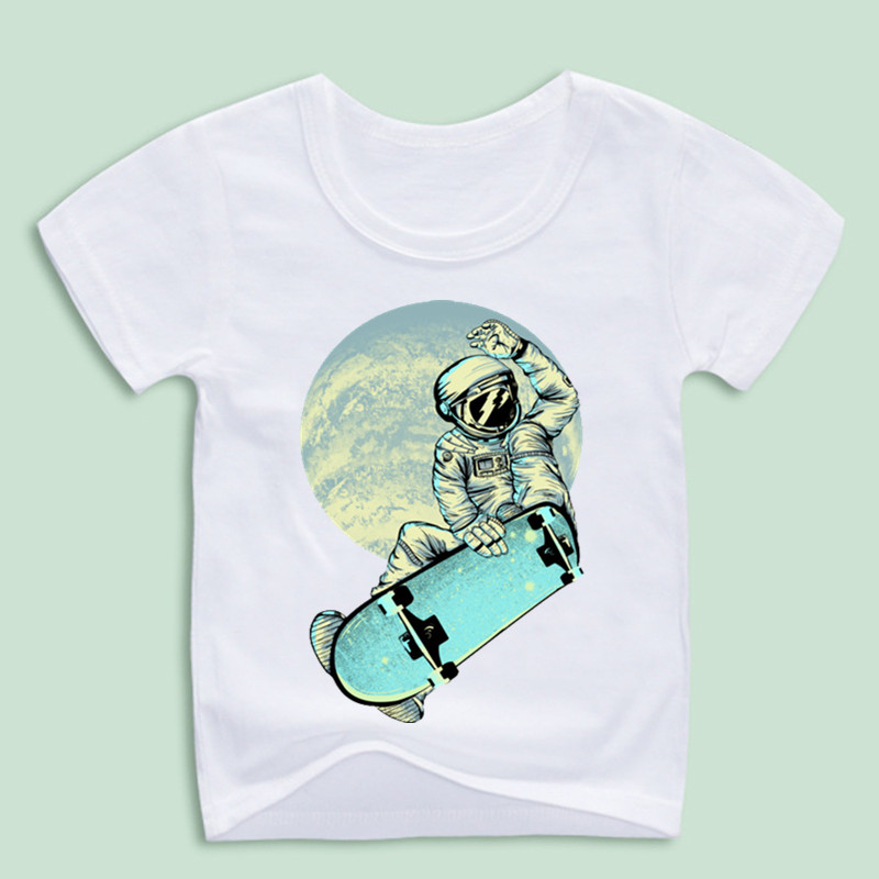 New Arrival,Funny Space Skateboard T-shirts For Kid,Children Skate T shirts Boy and Girl Hip Hop Swag Tops Tee Baby Clothing