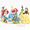 Disney Cartoon Princess Figures 6Pcs/Lot Anime Snow White Ariel Cinderella Merida Tiana 6-8CM PVC Action Figure Toys Brinquedos