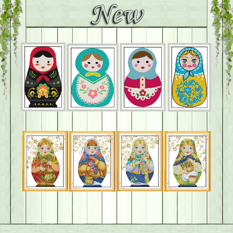 Colorful Russian <font><b>dolls</b></font> <font><b>lovely</b></font> painting counted print on canvas DMC 11CT 14CT Chinese Cross Stitch kits embroidery needlework Set