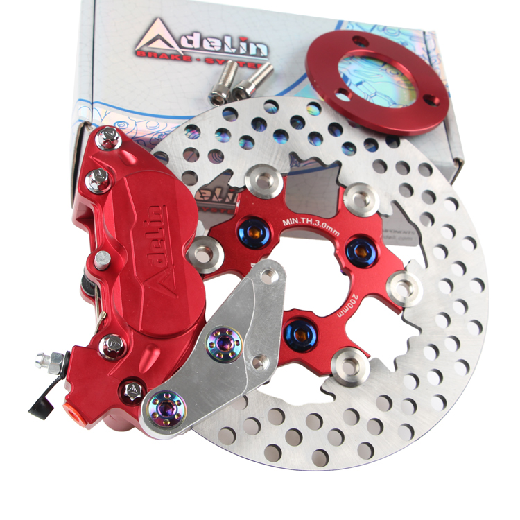 200mm Front Left Brake System(brake Calipers Adapter Disc) For Yamaha Scooter Aerox Nitro Jog Bws Rsz Zuma Cygnus Force Modify keoghs motorcycle hydraulic brake system 4 piston 100mm hf2 brake caliper 260mm brake disc for yamaha scooter cygnus x modify