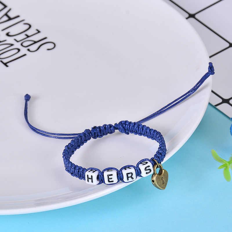2 pulseras de pareja unids/par Cool Black King y Queen con llaveros cadenas de cuerda amantes regalos hechos a mano encanto pulseras Accesorios