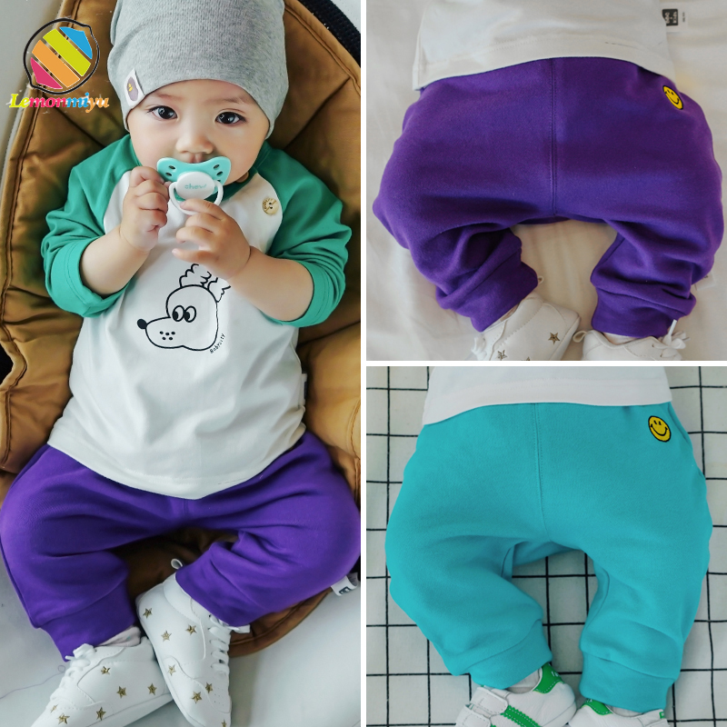 Lemonmiyu Cotton Pants Toddler Trousers Autumn Baby Casual Solid Cartoon Spring Active