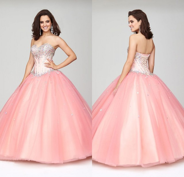 0c34b24682 Cute Pink Quinceanera Dresses Ball Gowns Cheap Quinceanera Gowns Sweetheart  Beaded Bodice Lace Up Back