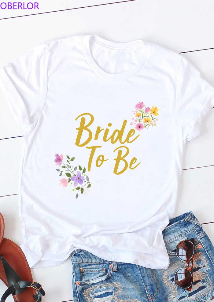 Hochzeit Braut Zu Werden T-shirt Braut Brautjungfer Team Frauen Tops Bachelorette Party Blume Brief Gedruckt T Shirt T Niedlichen T-shirt