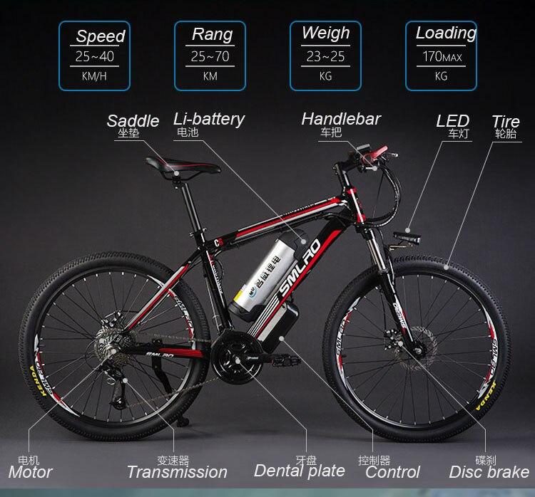 HTB1Cts4wRyWBuNkSmFPq6xguVXay - 26inch electrical mountain bicycle aluminum alloy ebike 27velocity e-mtb 48V lithium battery 500W motor  Hybrid bicycle