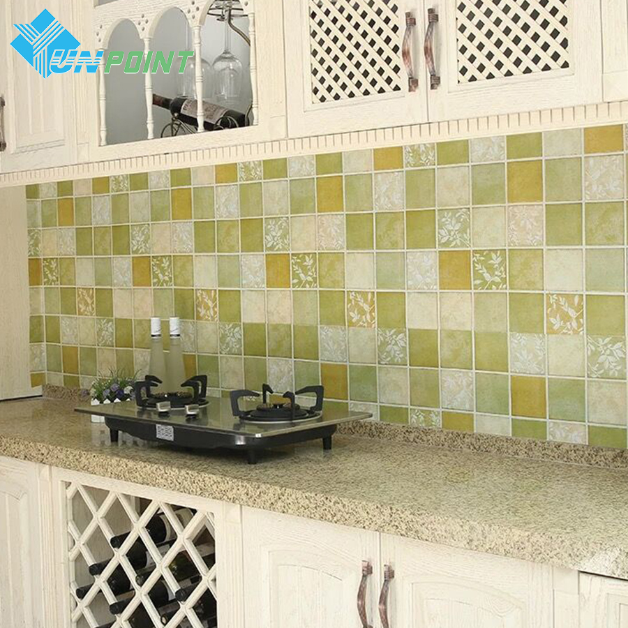 PVC Self Adhesive Kitchen Oilproof Wallpaper Toilet Bathroom Waterproof Tiles Sticker Furniture Cabinet Stove Mosaic Wall Papers