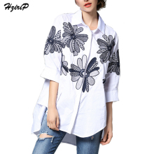 HziriP Embroidery Female Blouse Shirt Casual White Solid Shirts 2017 Summer Autumn Cool Half Sleeve Women Large Size Tops