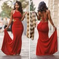 Popular Slim Prom Dresses Fitted Cut Out Halter Lace-up Back Sexy Red Prom Gowns Under 100 Women Long Dress Robe De Soiree
