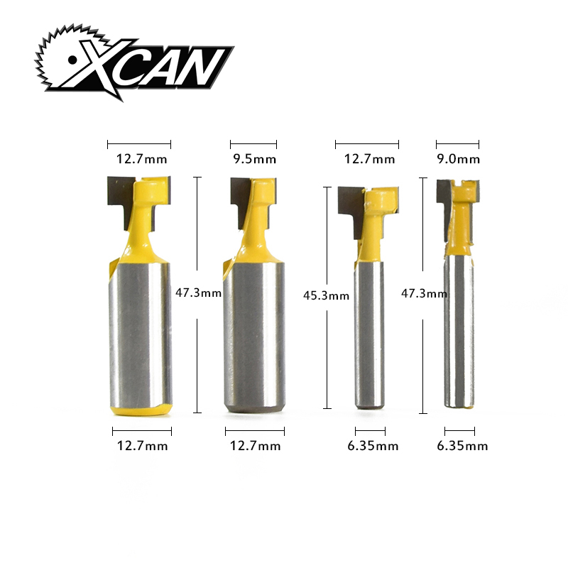 XCAN! 4pcs / set T-Slot Milling Cutters 2pcs 1/2 shank router bit +2pcs 1/4 shank router bit for wood keyhole knife 2pcs milling cutters 3 8 t slot cutter 1 4 shank steel handle milling woodworking router bit yellow blue cutters for wood
