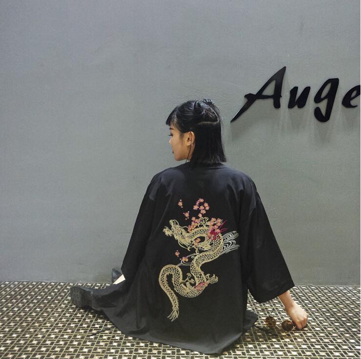 Mujeres Kimono Bordado Corea Del Dragón Cardigan Sw1nT7vXq