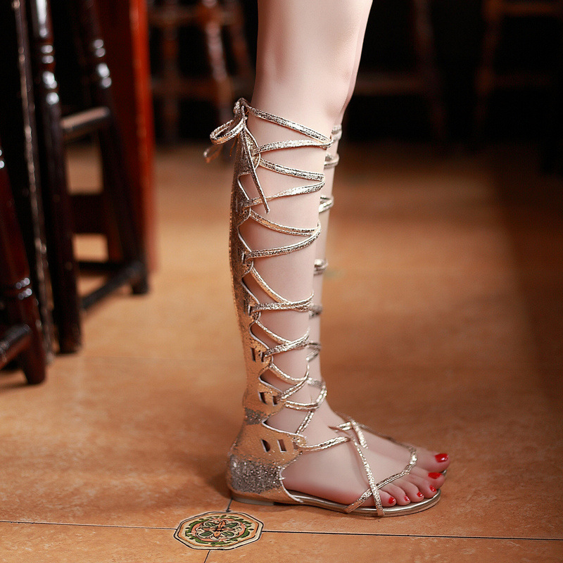 New 2016 Shoes Women Sandals Summer Style Flats Gold Sexy Knee High boots Gladiator Sandals knee High Gladiator free shipping  handmade high quality 2017 summer new knee high boots gladiator women sandals boot real leather flats casual shoes black size 41