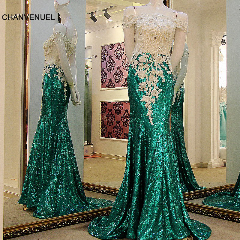 LS41199 Long Mermaid   Prom     Dresses   Sexy Off Shoulder Lace Up Back Sequins Lace Top Dark Green Evening Party   dress   Real Photos