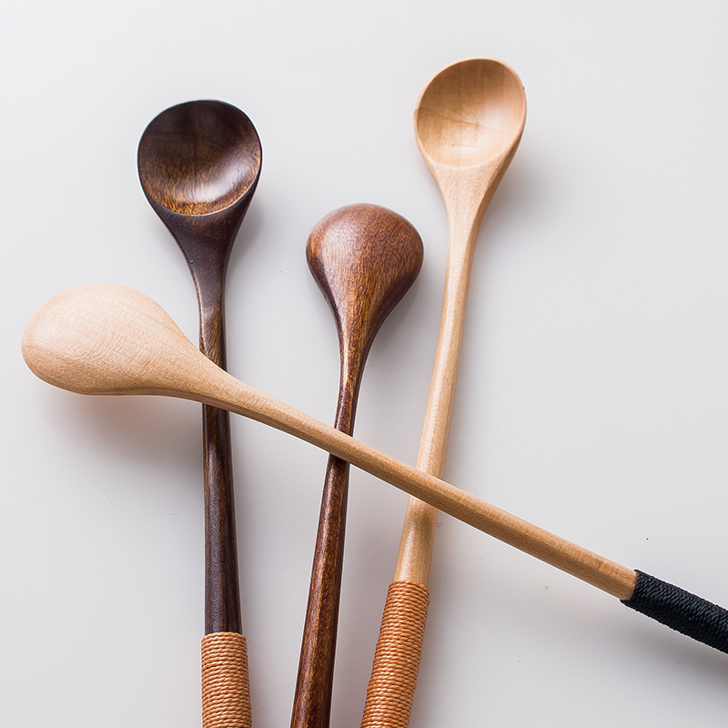 6pcs Long Handled Coffee Tea Spoon Natural Wooden Spoon Set Japanese Style Dessert Honey Spoons Bar Mixing Spoon Wood Tableware (2)