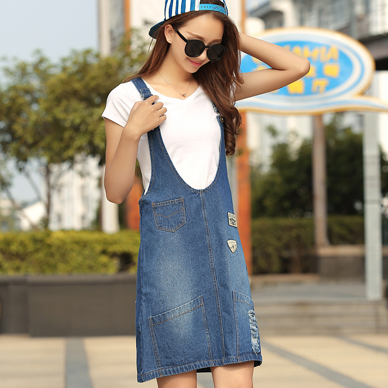 Girls Summer Style Denim Dress For Women Solid Color Jeans ...